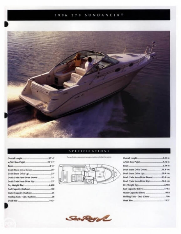 1996 Sea Ray boat for sale, model of the boat is 270 SUNDANCER & Image # 4 of 31