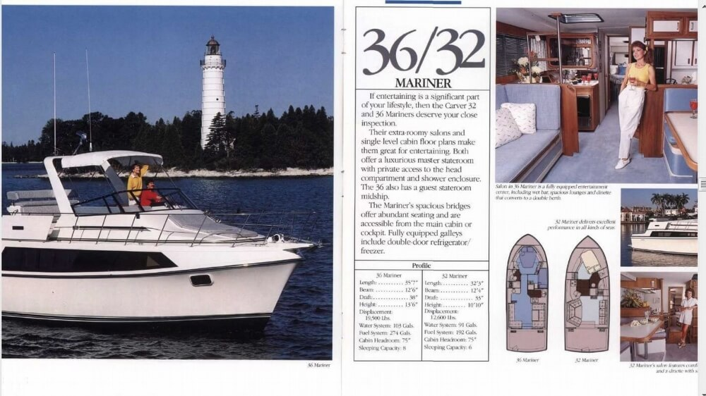 1988 Carver boat for sale, model of the boat is 36 Mariner & Image # 2 of 2