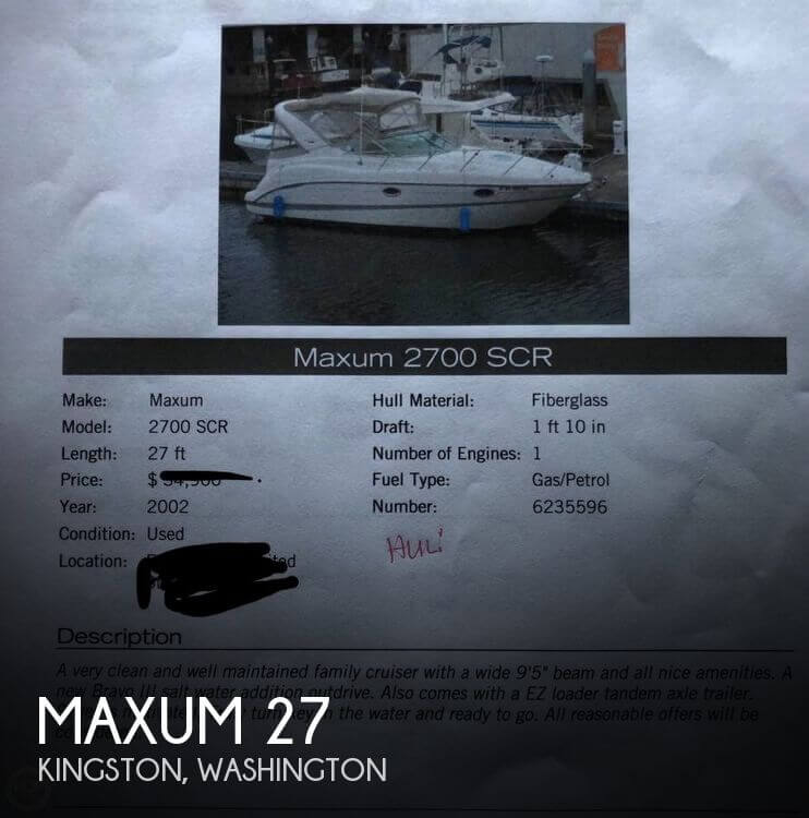 Used Maxum 27 Boats For Sale by owner | 2002 Maxum 27
