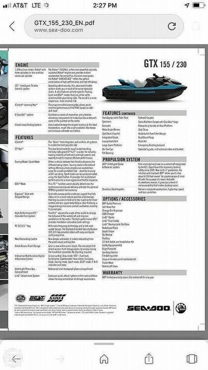 2018 Sea-Doo GTX230 For Sale