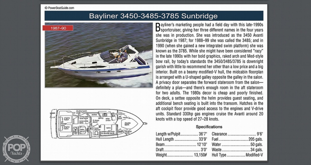 1989 Bayliner boat for sale, model of the boat is 3485 Avanti Sun Bridge & Image # 10 of 11