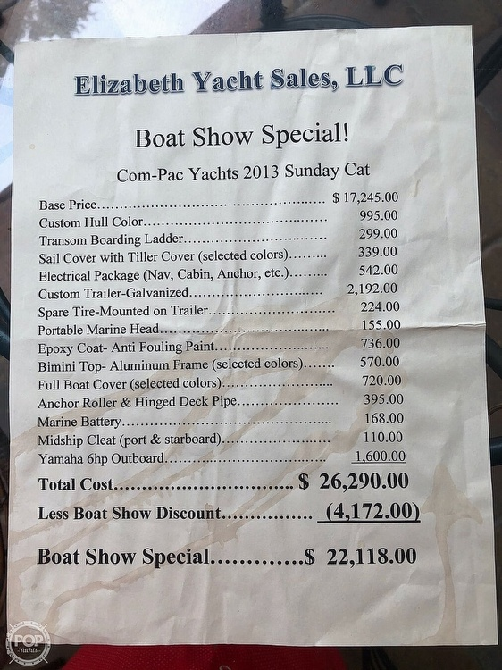 2014 Com-Pac boat for sale, model of the boat is Sunday Cat 17 & Image # 19 of 20