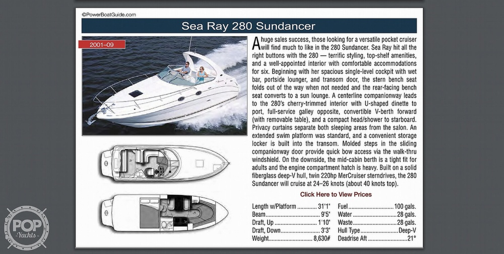2001 Sea Ray boat for sale, model of the boat is 280 Sundancer & Image # 37 of 41
