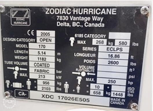 2005 Zodiac boat for sale, model of the boat is Eclipse 17 & Image # 16 of 40