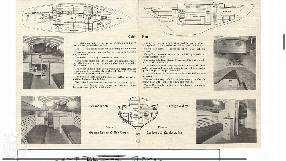 1939 Lawley boat for sale, model of the boat is 35 Weekender & Image # 7 of 11
