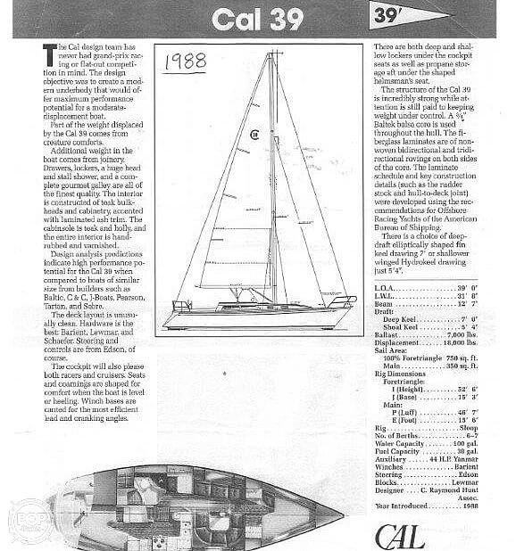 1988 CAL boat for sale, model of the boat is 39 Wing Keel & Image # 36 of 40