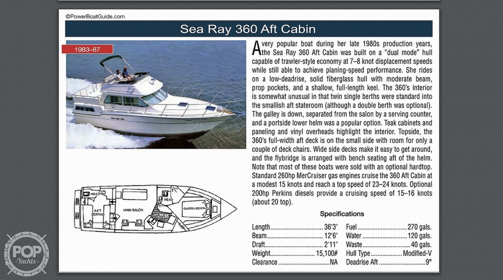 1984 Sea Ray boat for sale, model of the boat is 360 Aft Cabin & Image # 21 of 22