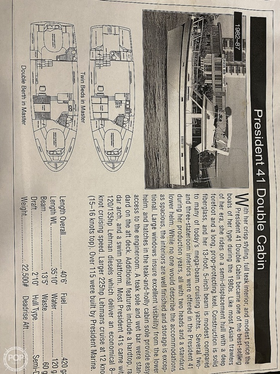 1984 President boat for sale, model of the boat is 41 DC & Image # 2 of 40