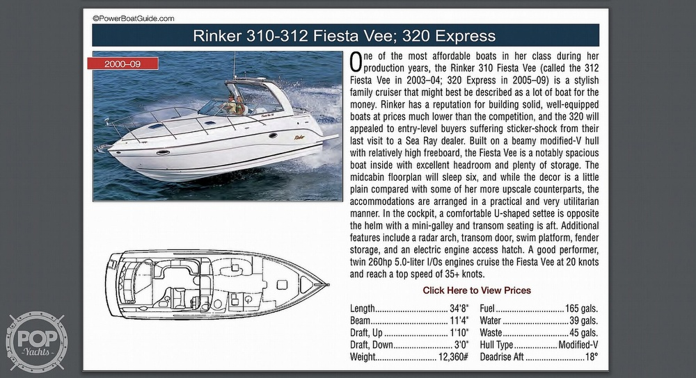 2003 Rinker boat for sale, model of the boat is Fiesta Vee 312 & Image # 6 of 7